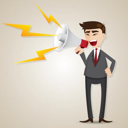 illustration of cartoon businessman with megaphone in commander concept