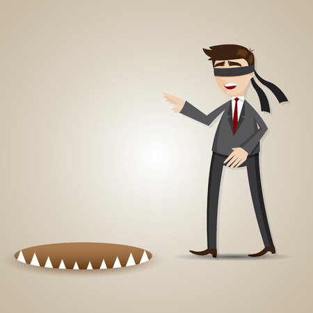 illustration of cartoon blind businessman walking into danger in risk concept