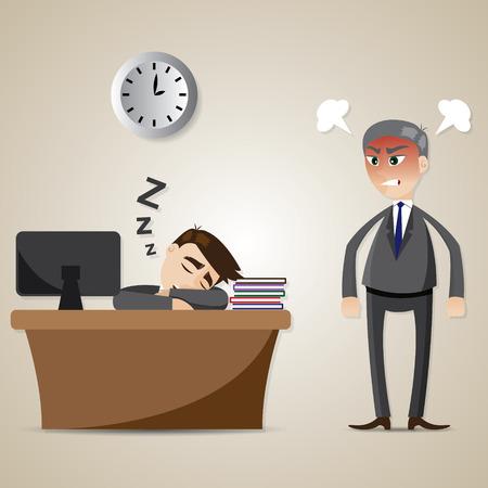 jefe enojado: ilustraci�n de dibujos animados de negocios de dormir y jefe enojado en concepto de trabajador perezoso