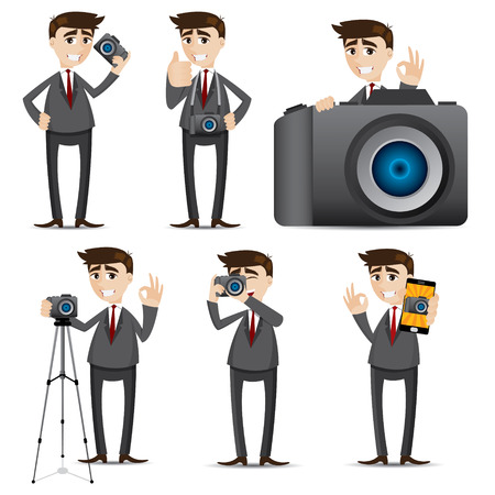 tripods: illustration of cartoon businessman with camera dslr