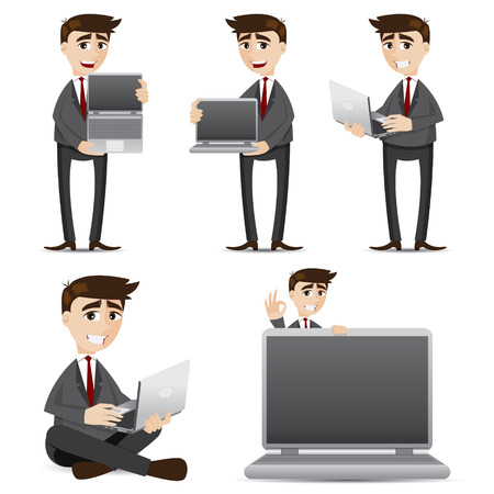 manager cartoon: illustration of cartoon businessman with computer laptop set