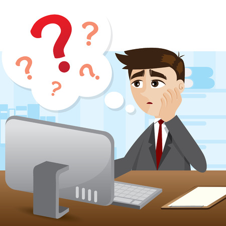 illustration of cartoon businessman with question mark in business problem concept