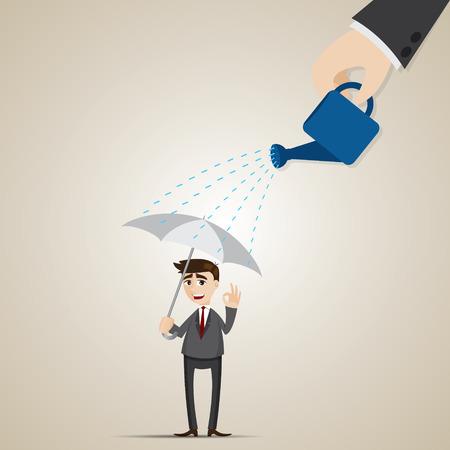 illustration of cartoon businessman with umbrella under rain in insurance concept Vector