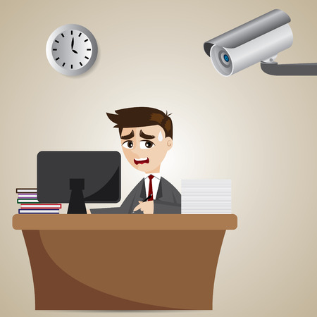 illustration of cartoon businessman watched by cctv in security concept Vector