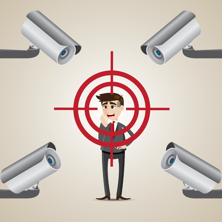illustration of cartoon businessman targeted lock on by cctv in security concept Vector