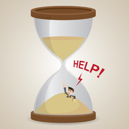sand trap: illustration of cartoon businessman stuck in sandglass in business deadline concept Illustration