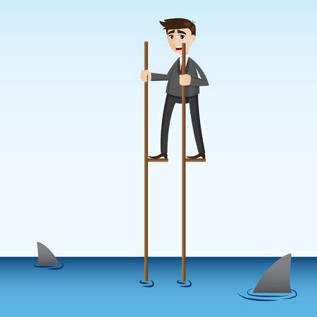 risky: illustration of cartoon businessman walking in sea in risky concept