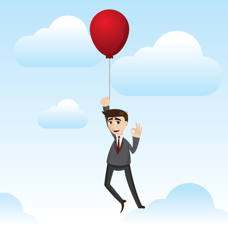 freedom of expression: illustration of cartoon businessman with floating balloon in financial freedom concept