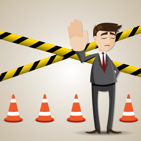 work area: illustration of cartoon businessman with restricted area