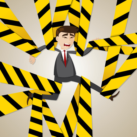 illustration of cartoon tangled businessman in business problem concept