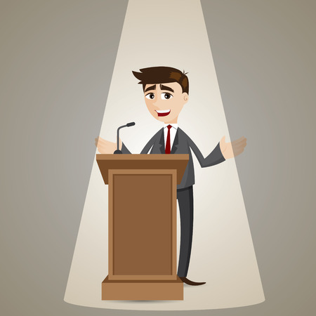 politician: illustration of cartoon businessman talking on podium