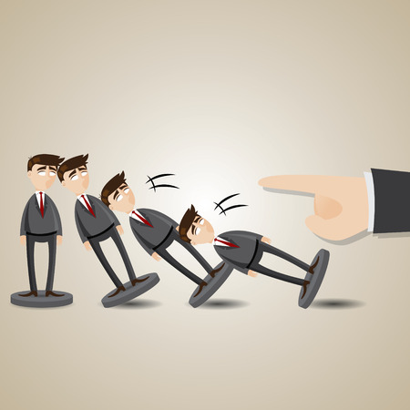domino effect: illustration of cartoon domino businessman figure fall down in collapse concept