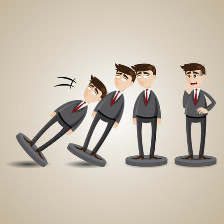 derrumbe: ilustraci�n de dibujos animados figura hombre de negocios de domin� caen en concepto de colapso