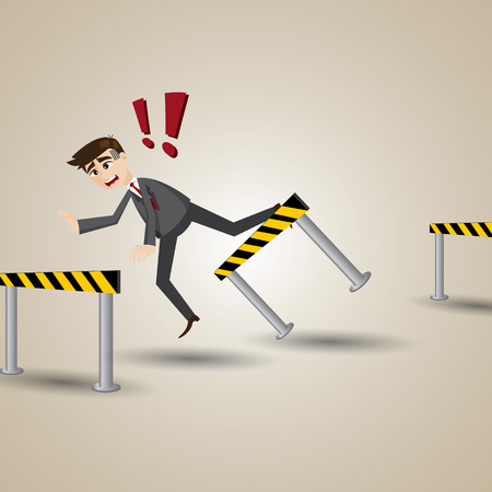illustration of cartoon businessman with obstacle in business accidental concept Vector