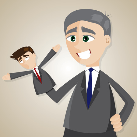 illustration of cartoon puppet businessman manipulated by older boss 向量圖像