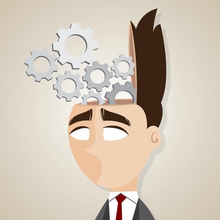 open brain: illustration of cartoon businessman with mechanical brain