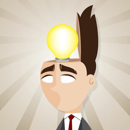 idee gl�hbirne: Illustration der Cartoon Gesch�ftsmann mit Idee Gl�hbirne in seinem Kopf Illustration