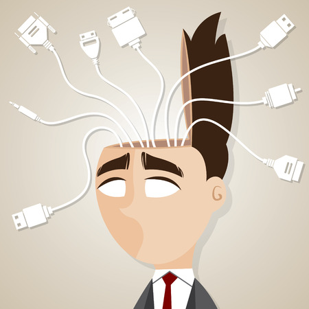 illustration of cartoon businessman with connecting cable in his head Vector