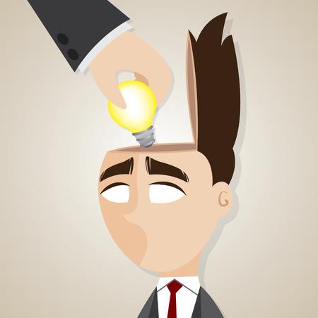 illustration of cartoon businessman stolen ideas in plagiarism concept