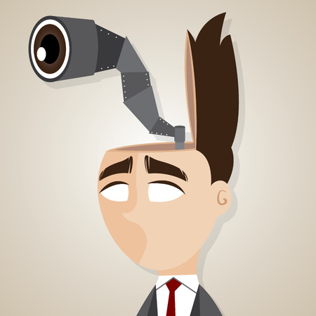 opportunity concept: illustration of cartoon businessman with scouting binocular in his head in looking for opportunity concept Illustration