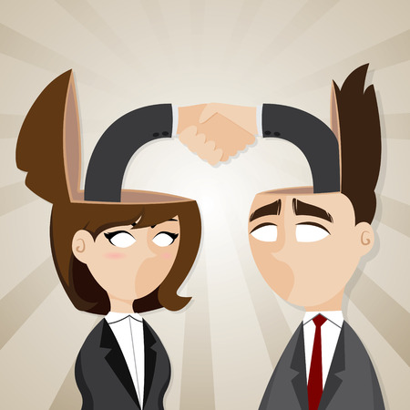 check in: illustration of cartoon businessman and businesswoman check hand in they head in teamwork success concept