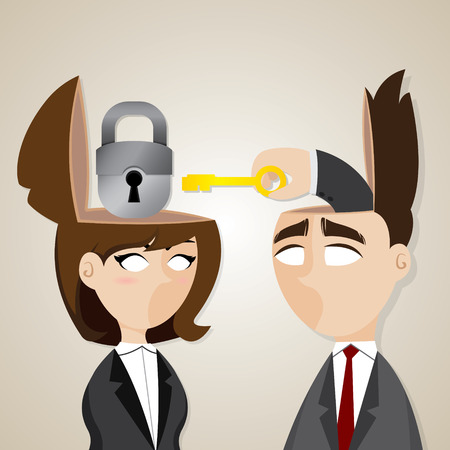 brain clipart: illustration of cartoon businessman and businesswoman unlock with key in collaboration concept
