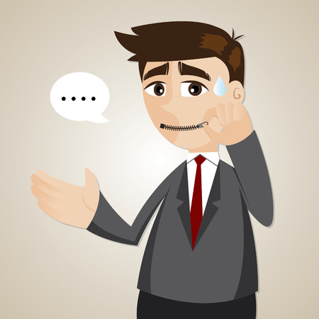 illustration of cartoon businessman zipped his mouth in  inarticulate concept