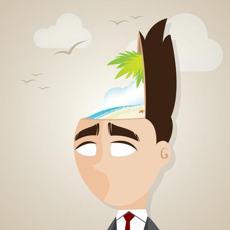 summer break: illustration of cartoon businessman with summer beach in his head in summer break concept