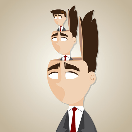 dictate: illustration of cartoon duplicate businessman in his head in manipulate concept
