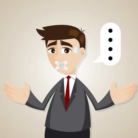 illustration of cartoon mute businessman with plaster in inarticulate concept Imagens - 28498615