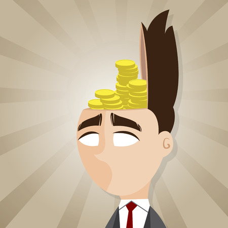 investment concept: illustration of cartoon businessman with gold coin in his head in investment concept