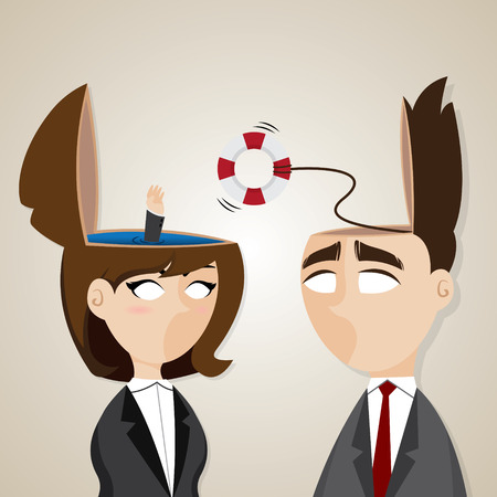 teamwork cartoon: illustration of cartoon businessman and businesswoman with buoy helping in teamwork concept