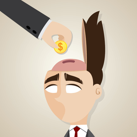 salary man: illustration of cartoon businessman with gold coin to his head in business investment concept Illustration