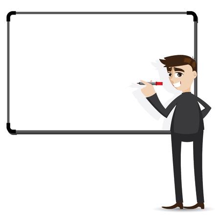 illustration of cartoon businessman writing whiteboard in presentation concept
