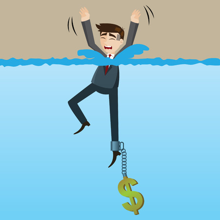 greedy: illustration of cartoon drowning businessman with money chain on his leg in disaster because of greed concept Illustration