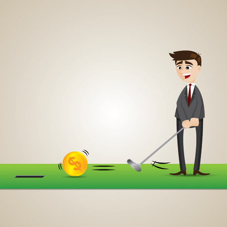 cartoon golf: illustration of cartoon businessman putting gold coin into hole in business investment concept Illustration