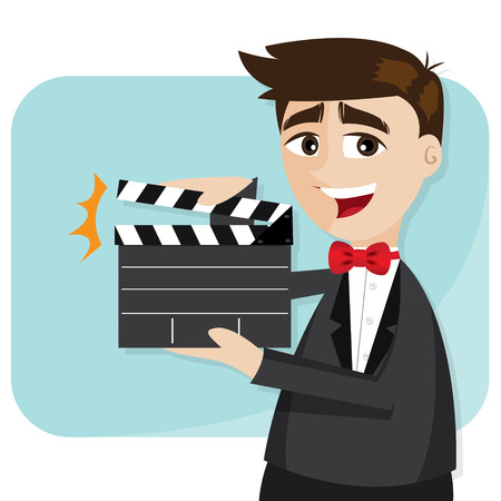 illustration of cartoon businessman with director cut in production concept