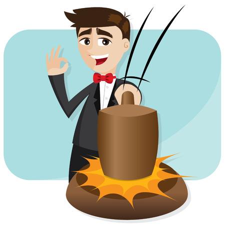 ilustración de dibujos animados de negocios golpeando martillo de la subasta