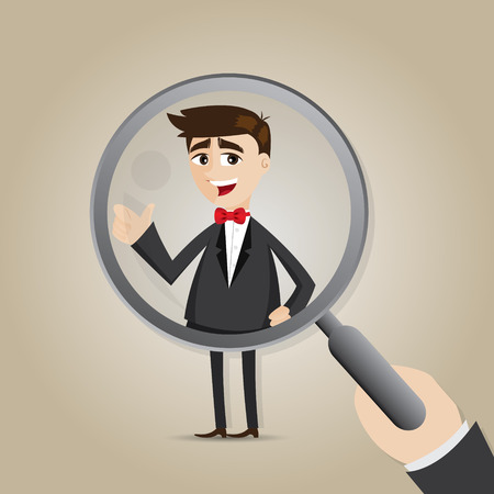 recruit suit: illustration of cartoon businessman with magnifier in recruitment concept