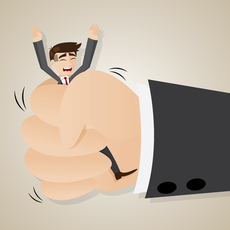 squeeze: illustration of cartoon businessman squeezed by boss hand in punishment concept