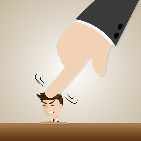 illustration of cartoon businessman crushed head by boss hand in oppressive concept Vector