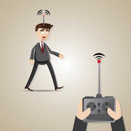 controlled: illustration of cartoon robotic businessman controlled by boss in employment concept