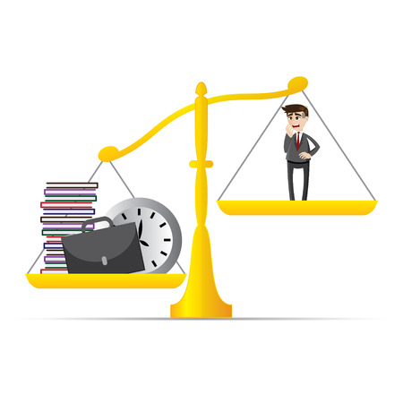 illustration of cartoon businessman and lot of work on balance scale in workload concept