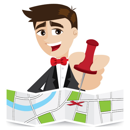 illustration of cartoon businessman sticky pin on map in business objective concept Illustration