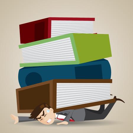 illustration homme d'affaires de dessin animé avec la pile de dossier et livre sur son dos dans le concept de la charge de travail Vecteurs