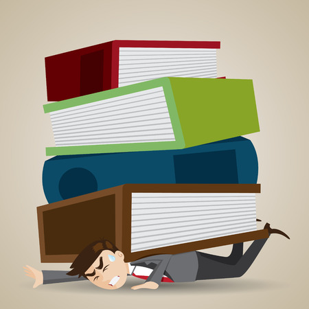 workload: illustration of cartoon businessman with stack of folder and book over his back in workload concept