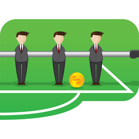 teamwork cartoon: illustration of cartoon businessman table football style in teamwork concept