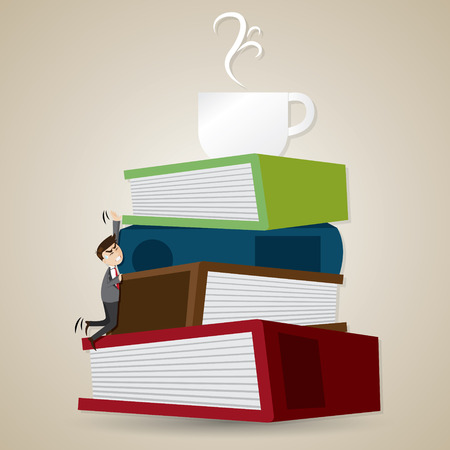 tried: illustration of cartoon businessman tried to climb stack of folder and book to get cup of coffee in breaking time concept