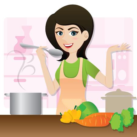 eats: illustration of cartoon smart girl cooking vegetarian soup in kitchen