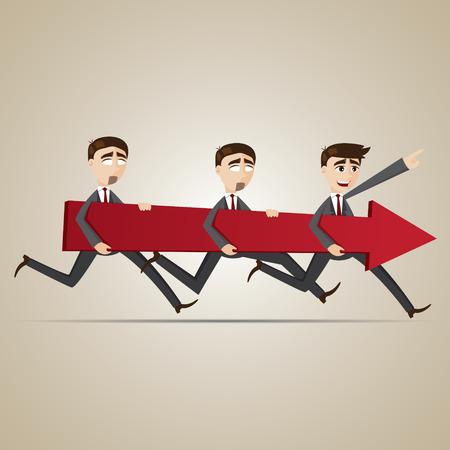 teamwork cartoon: illustration of cartoon businessmen carry red arrow in teamwork concept Illustration